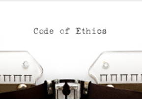 stock photo code of ethics typewriter page