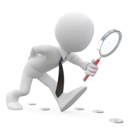 stock graphic figure wearing a tie using a magnifying class to follow a trail