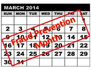 graphic fraud prevention month calendar