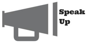 illustration megaphone with words speak up