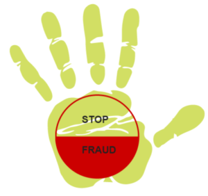 graphic handprint with stop fraud on it