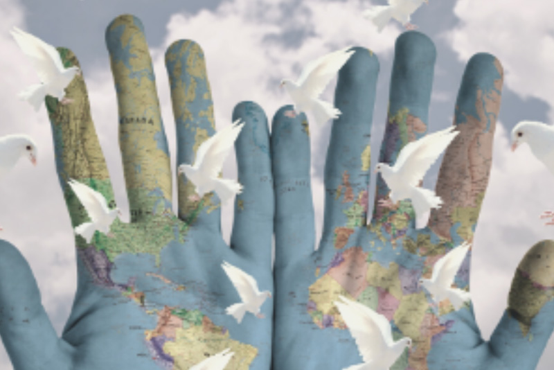 hands with world map on them doves flying over